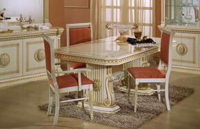 VGACROSELLA-DT-1CH Modrest Rosella Italian Classic Rectangular Dining Table + 2 Side Chairs + 1 Arm Chair
