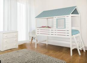 Omestad Collection CM7135BEDSET1 2 PC Bedroom Set with Twin Size Loft Bed + Chest in White and Light Blue Finish