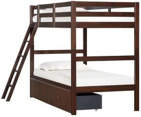 3000-37S Mission Hills Twin Bunk Bed and Storage Drawer with Distressed Detailing and Block Feet in Chestnut