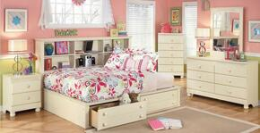 Cottage Retreat Twin Bedroom Set with Bedside Storage Bed, Dresser, Mirror and Nightstand in Cream