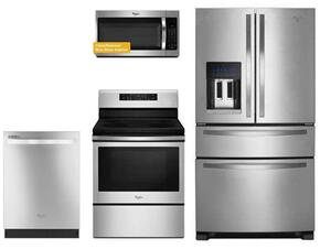 "4 Piece Kitchen package With WFE520S0FS 30"" Electric Range, WMH32519FS Over The Range Microwave Oven, WRX735SDBM 36"" French Door Refrigerator and WDT720PADM 24"" Built In Dishwasher In Stainless Steel"