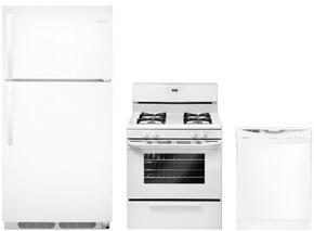 "3-Piece Builder Kitchen Package With FFHT1514QW 28"" Freestanding Top Freezer Refrigerator, FFGF3015LW 30"" Gas Freestanding Range and FFBD2406NW 24"" Built In Full Console Dishwasher in White"