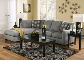 Zella 70200LCHSS3TR2L 7-Piece Living Room Set with Left Chaise Sectional, 3PC Table Set, Rug and 2 Lamps in Charcoal