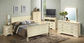 G3175AQBSET 6 PC Bedroom Set with Queen Size Sleigh Bed + Dresser + Mirror + Chest + Nightstand + Media Chest in Beige Finish