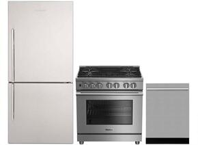 "3-Piece Kitchen Package with BRFB1812SSN 30"" Bottom Freezer Refrigerator, BDFP34550SS 30"" Freestanding Dual Fuel Range, and a free DWT55300SS 24"" Built In Fully Integrated Dishwasher in Stainless Steel"