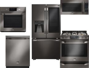 5-Piece Black Stainless Steel Kitchen Package with LSFXC2496D 36