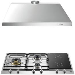 "2-Piece Stainless Steel Kitchen Package with PM363I0X 36"" Natural Gas Segmented Cooktop and KU36PRO1X14 36"" Canopy Hood"