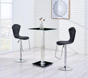 MD096-BT-M260BS-BL-3PC-SET 3 Piece Bar Table Set, 1 Square Glass Table + 2 Black Bar Stools