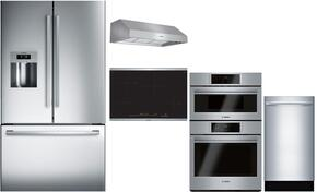 "5-Piece Stainless Steel Kitchen Package with B26FT50SNS 36"" French Door Refrigerator, NIT8068SUC 36"" Smooth Cooktop, HBL87M52UC 36"" Under Cabinet Hood, DPH36652UC 30"" Double Wall Oven, and SPX68U55UC 18"" Full Console Dishwasher"