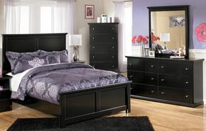 Maribel Full Bedroom Set with Panel Bed, Dresser, Mirror and Chest in Black