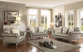 G704SET 3 PC Living Room Set with Sofa + Loveseat + Armchair in Silver Color