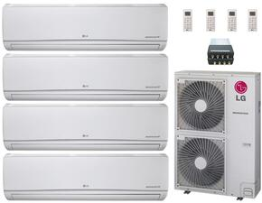LMU480HVKIT39 Quad Zone Mini Split Air Conditioner System with 48000 BTU Cooling Capacity, 4 Indoor Units, Outdoor Unit, and 4-Port Distribution Box