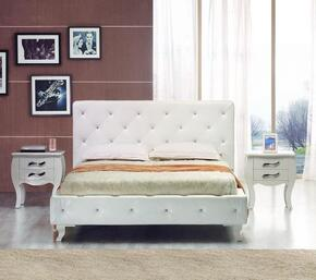 VGJYMONTECARLO-WHT-CEKN Modrest Monte Carlo Eastern King Size Bed + 2 Nightstands in White