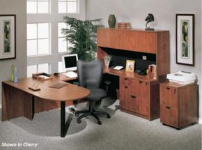 KIT1N147M Bullet Desk Complete with Bridge, Credenza, Hutch, Combo Lateral File, Mobile Pedestal File in Mahogany Finish