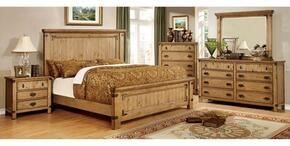 Pioneer Collection CM7449CKBDMCN 5-Piece Bedroom Set with California King Bed, Dresser, Mirror, Chest and Nightstand in Weathered Elm Finish