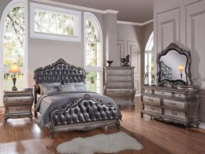Chantelle 20534CK5PCSET Bedroom Set with California King Size Bed + Dresser + Mirror + Chest + Nightstand in Antique Platinum and Silver Grey Finish