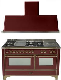 "2-Piece Burgundy Kitchen Package with UM150FSDMPRBY 60"" Freestanding Dual Fuel Range (Oiled Bronze Trim, 5 Burners, French Cooktop) and UAM150RB 60"" Wall Mount Range Hood"