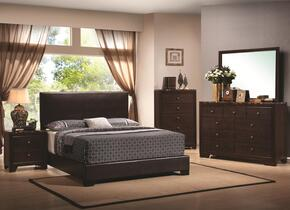 300261QSET6 Conner 6 PC Bedroom Set in Dark Walnut Finish (Bed, 2x Nightstand, Dresser, Mirror, and Chest)