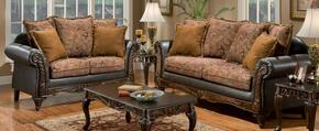 726300-SLC Arlene Three Piece Living Room Set, Sofa, + Chaise with Fabric Upholstery in Bi-cast Brown