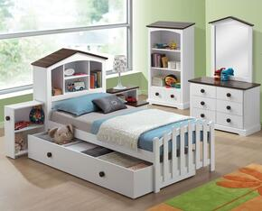 Docila 30215F6PC Bedroom Set with Full Size Bed + Dresser + Mirror + Chest + Nightstand + Bookcase in White and Chocolate Color
