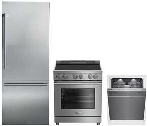 """3-Piece Kitchen Package with BRFB1920SS 30"""" Bottom Freezer Refrigerator, BIRP34450SS 30"""" Slide In Electric Range, and a free DWT59500SS 24"""" Built In Fully Integrated Dishwasher in Stainless Steel"""