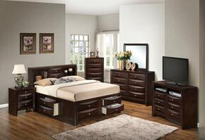 G1525GQSB3DMNCHTV2 6 Piece Set including Queen Size Bed, Dresser, Mirror, Nightstand, Chest and Media Chest  in Cappuccino
