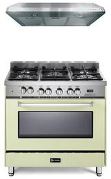 """VEFSGE365NAW 36"""" Freestanding Dual Fuel Range with 5 Sealed Burners, 4.0 cu. ft. Capacity, Convection, Storage Drawer & Electronic Ignition, in Antique White (Image shown not exact)"""