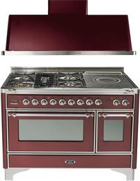 "2-Piece Burgundy Kitchen Package with UM120SDMPRBX 48"" Freestanding Dual Fuel Range (Chrome Trim, 5 Burners, French Cooktop) and UAM120RB 48"" Wall Mount Range Hood"