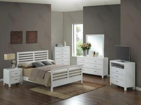 G1275CFB2DMNTV 5 Piece Set including Full Size Bed, Dresser, Mirror, Nightstand and Media Chest  in White