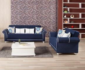 Royal Home ROHOSBLSRDB Package Containing Sofa Bed and Loveseat with Pillows, Nail Head Accents, Turned Feet, Sliders and Rolled Arms in Riva Dark Blue