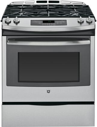 "GE JGS650 30"" Slide-In Gas Range With 5.6 cu. ft. Total Capacity, 15,000 BTU Power Boil Burner, Precise Simmer Burner, Heavy-Cast Iron Continuous Grates, Storage Drawer, In"