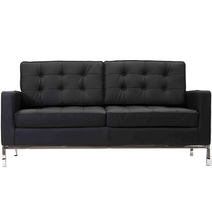 Modway EEI185BLK Loft Series Leather Stationary with Metal Frame Loveseat