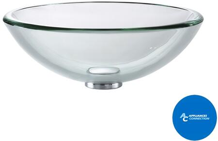 Kraus CGV10119MM1007 Singletone Series Round Vessel Sink with 19-mm Tempered Glass Construction, Easy-to-Clean Polished Surface, and Included Ramus Faucet, Clear Glass
