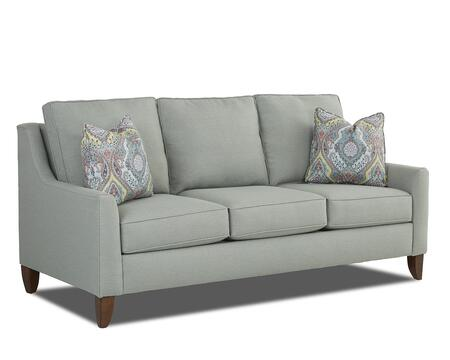"""Klaussner Belton Collection K10200-S 80"""" Sofa with Track Arms, Loose Back Cushions and Tapered Legs in X and Pillows in X"""