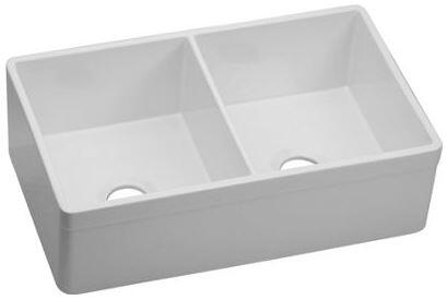 "Elkay SWUF32189 33"" Undermount Farm Apron Double Bowl Sink with 9"" Bowl Depth, Fine Fireclay Construction, 3 1/2"" Drain Opening, Non-Porous and Stain Resistant Finish, in"