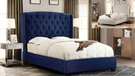 Diamond Sofa Majestic Collection Sleigh Bed with Nail Head Wing Accents, Button Tufted Headboard, Low Profile and Plush Velvet Upholstery in Royal Navy Blue Color