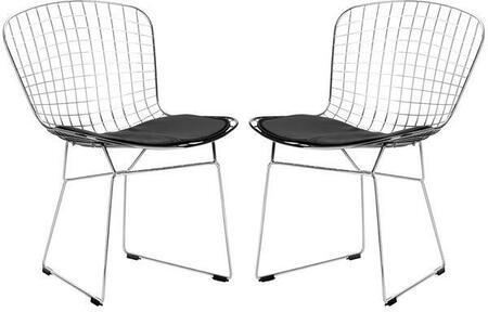 EdgeMod EM108BLKX2 Morph Series Modern Metal Frame Dining Room Chair
