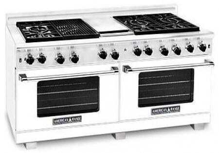 American Range ARR606GDGRLW Heritage Classic Series Liquid Propane Freestanding Range with Sealed Burner Cooktop, 4.8 cu. ft. Primary Oven Capacity, in White
