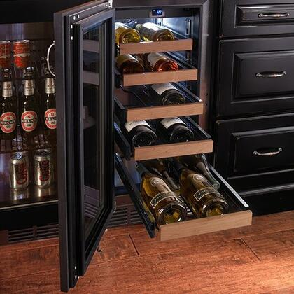 "Perlick HP15WS31xC 15"" Signature Series Wine Cooler with 20 Bottle Capacity, 5 Extension Pull-Out Wine Shelves, RAPIDcool System, Stainless Steel Shelf Fronts and Interior, in Stainless Steel with"