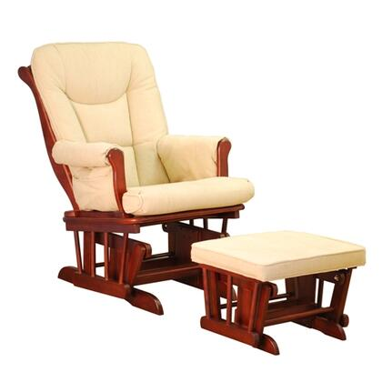 AFG GL7126 Sleigh Glider with Ottoman, Easy to Clean Cushions, Smooth Gliding, and Sturdy Wood Construction, in
