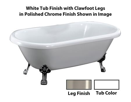 "Barclay ATDRN68LPWH Chandler 68"" Acrylic Double Roll Top Clawfoot Tub, with White Tub Finish, No Overflow, Lion Feet Clawfoot Design, No Faucet Holes, with Clawfoot Finish in"