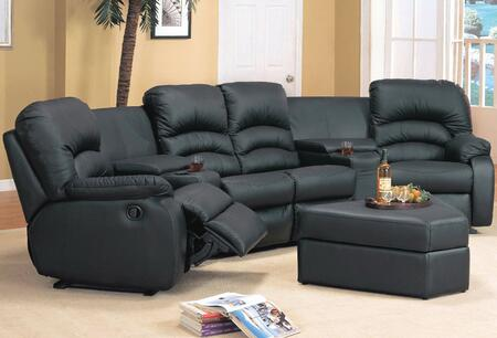 Yuan Tai VE4001 Ventura 4 Piece Bonded Leather Set 2 Recliner Chairs, Love Seat, and Ottoman