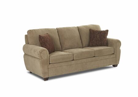 "Klaussner Westbrook Collection E3000-S- 81"" Sofa with Fabric Upholstery, Rolled Arms and Two Accent Pillows"