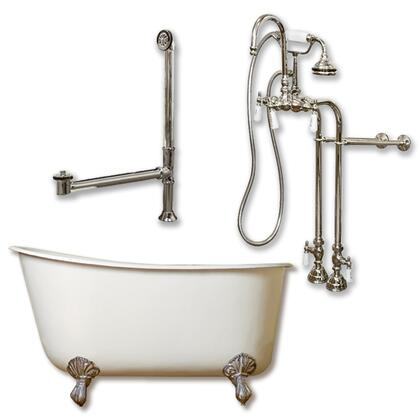 "Cambridge SWED58398684PKG Cast Iron Swedish Slipper Tub 58"" x 30"" with no Faucet Drillings and Complete Free Standing English Telephone Style Faucet with Hand Held Shower Assembly Plumbing Package"