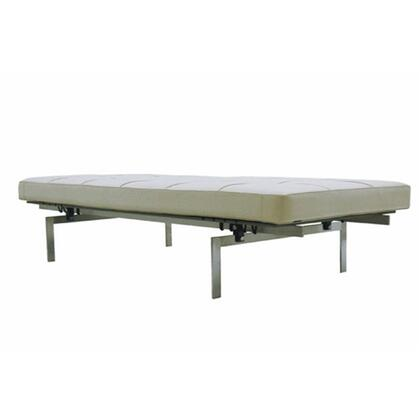 Fine Mod Imports FMI9234WHITE Pika Series Accent Armless Stainless Steel Leather Bench