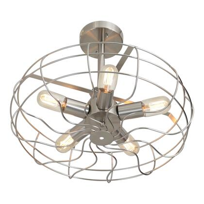 "LumiSource Ozzy Collection LS-L-OSCCLG 14"" Ceiling Lamp with Cage-Like Enclosure, Five-Spoke Centerpiece and Metal Construction in"