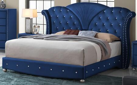 Cosmos Furniture Alana Collection ALANA KING BED X King Size Bed with Fabric Upholstery, Button Tufting, Nailhead Trims and Shell Shaped Headboard in
