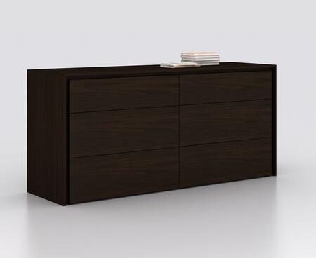 """Casabianca Zen Collection 63"""" Dresser with 6 Drawers and Medium-Density Fiberboard (MDF) in"""