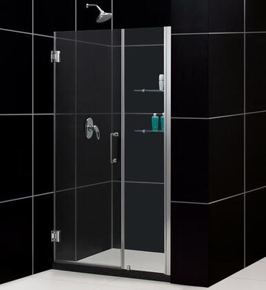 "DreamLine SHDR-20477210CS Unidoor 47 to 48"" Frameless Hinged Clear 3/8"" Glass Shower Door in"