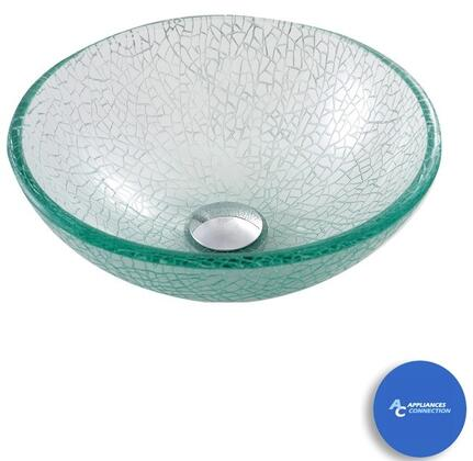 "Kraus CGV5001412MM10 Singletone Series 14"" Mosaic Round Vessel Sink with 12-mm Tempered Glass Construction, Easy-to-Clean Polished Surface, and Included Waterfall Faucet"